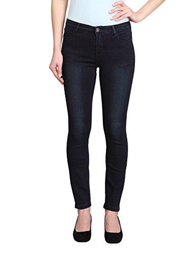 Womens Dark Blue Jeans - Allée Jeans, Women's Dark Blue Mid-Rise Skinny Ankle Jeans (Lis-AK) (25)
