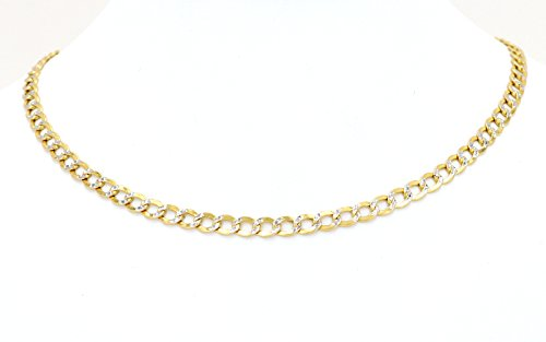 Real 10k Two Tone Yellow & White Gold Hollow Cuban Link