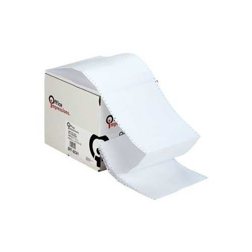 Dot Matrix Printer Paper Pin Fed Continuous Printout, 9-1/2 Inch x 11 Inch, White, 20lb, 2,400ct by Office Impressions