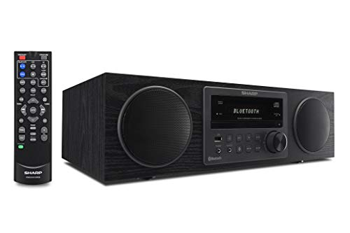 Sharp Vintage Style Modern Retro Look Micro Component Wireless Bluetooth Audio Streaming & Cd Player Wood Speaker System + Remote, USB Port for MP3 Playback, Am/FM Stereo Digital Tuner, Aux, Black Oak