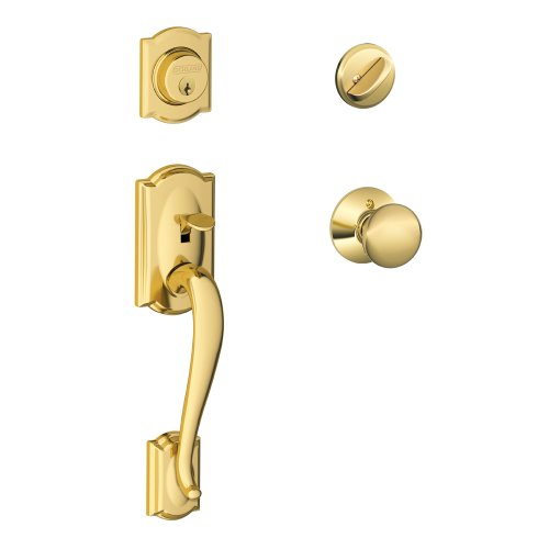 - Schlage V CAM 505 PLY Camelot F60 Plymouth Single Cylinder Door Handle Set, Keyed, Bright Brass, F60 V CAM 505 PLY