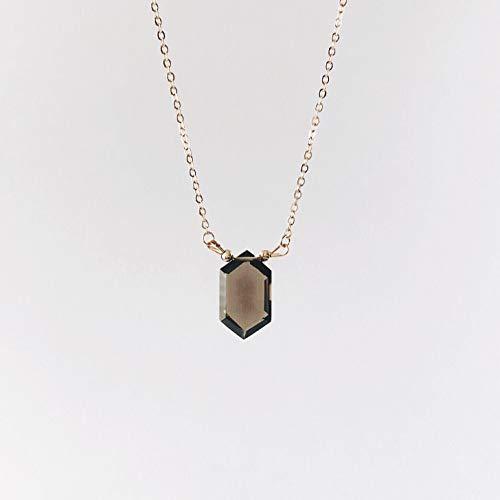 Smoky Quartz Hexagon Crystal Necklace Krystallos Kipo ()