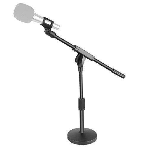 (Neewer Short Desktop Microphone Stand with 5.5 inches/14 centimeters Heavy Duty Round Weighted Base, Adjustable Single Section Boom Arm Stand and Microphone Clamp for Handheld Dynamic Microphone)