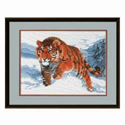"Janlynn Snow Tiger Longstitch Kit-19""X15"