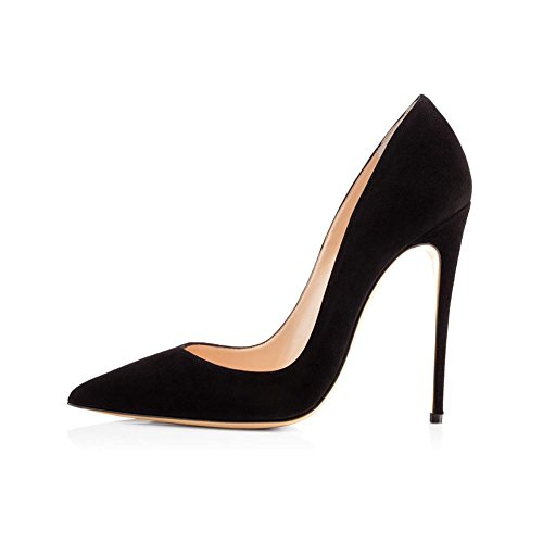 Alto 37 Donna Single 40414243444546 Stiletto Shallow Tacco black Fine Suede a Shoes Mouth YWNC PU Size Antiscivolo Pump Punta Party Banchetto punta Large BtqCxBdwf