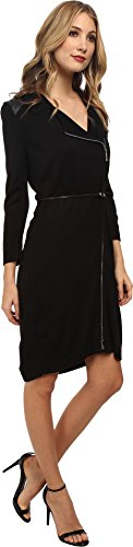 Calvin Klein Women's Belted Zip Front Sweater Dress Black Dress LG