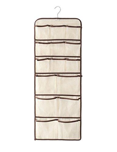 Surblue Hanging Closet Underwear Socks Ties Storage Over the Door Organizer Dual-sided 30 Mesh Pockets White (Dresser In Closet Ideas)