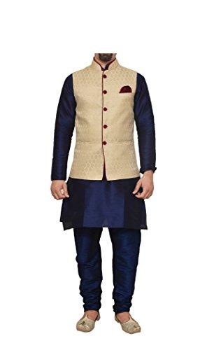 (Mag Men's Nevy Blue Matching silk Kurta Churidhar With Gold Waistcoat (RG-10796-44))