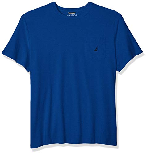 Nautica Men's Solid Crew Neck Short Sleeve Pocket T-Shirt, Monaco Blue, 2X - Cotton Pocket T-shirt