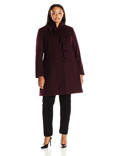 Larry Levine Nylon Coat - LARRY LEVINE Women's Size Ruffel Wool Coat Plus, Shiraz, 1X