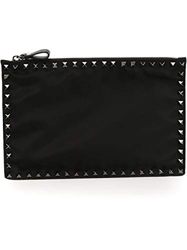 Valentino Men's Ny2p0565nov0no Black Leather Clutch for sale  Delivered anywhere in USA