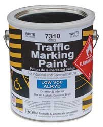 RAE 7310 - WHITE ALKYD TRAFFIC & ZONE MARKING PAINT - professional grade road & parking lot paint for stencils, parking stall, crosswalks, stop bars, and zone painting or marking - Paint Traffic Marking