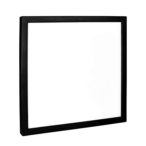 Luxrite 9 Inch Square LED Flush Mount Ceiling Light, 18W, Black Finish, 5000K (Bright White), 1200 Lumens, Dimmable, Surface Mount LED Ceiling Light, Wet Rated, Energy Star - Entryway and Kitchen
