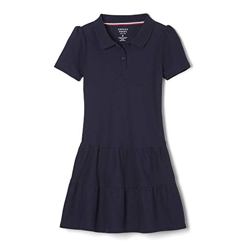 (French Toast Little Girls' Toddler Ruffled Pique Dress, Navy, 4T)