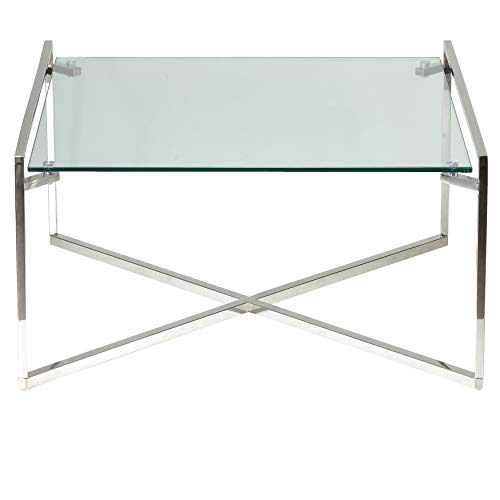 Cortesi Home CH-CT656942 Celia Glass Coffee Table, 30