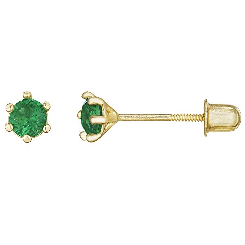Emerald Ring 14kt Gold Jewelry (14kt Solid Gold Kids Stud Screwback Earrings - Emerald Green)