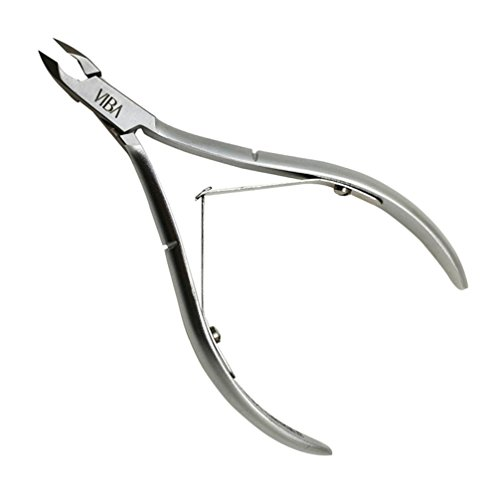 Viba PROFESSIONAL Precision Surgical-Grade Stainless Steel Cuticle Nippers, French Handle D01, Double Spring, 6mm Jaw (Full (1/2 Jaw Stainless Steel)