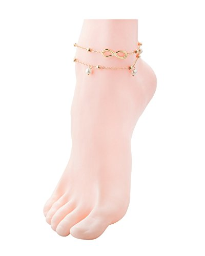 Zealmer Metal Chain Gold Anklet Bracelet Beach Foot Jewelry Charm Heart Infinite Leaf Sequin Beads
