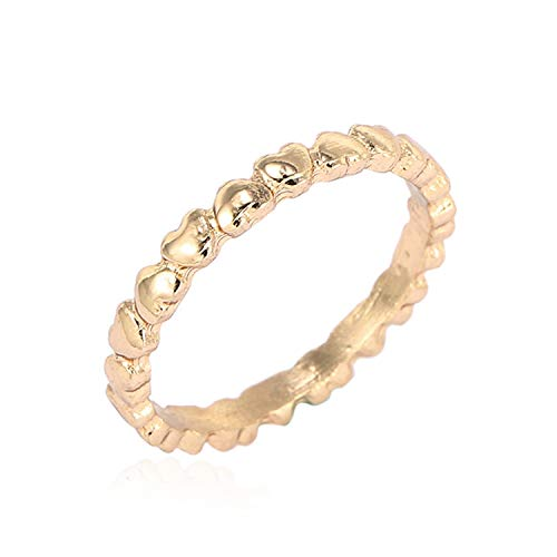 (Candy-OU Fashion Gift 3 Colors Fine Finger Ring Love Heart to Heart Ring for Women Wife Original Wedding Jewelry Dropshipping,9,Gold Color)