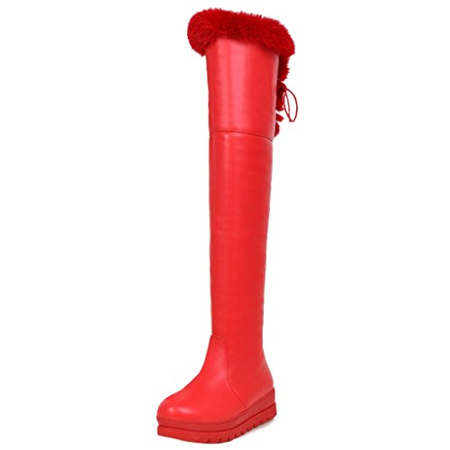 Women Winter Boots COOLCEPT Red Knee 7qYnFWWScO