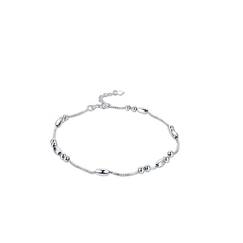 RYANHYPE Sterling Silver Anklet for Women Box Chain Bracelets Adjustable Beach Style Foot Ankle Summer Anklet 11 inches