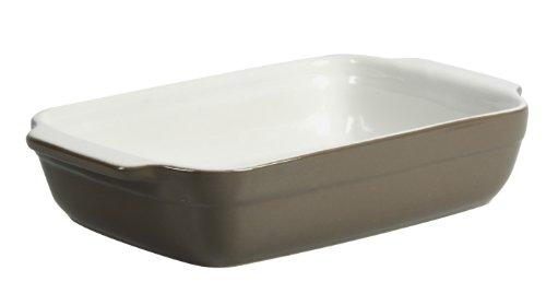 Crealys 512728 Auflaufform mit Keramikgriffen, oval, 25x15x5cm, Graubraun