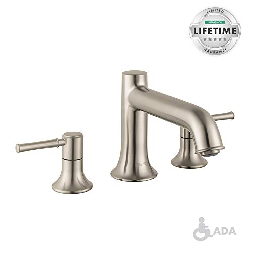 Hansgrohe Rough 3 Hole - Hansgrohe 14313821 Talis C 3-Hole Roman Tub Set Trim, Brushed Nickel