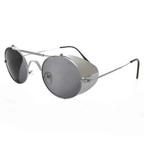 Silver Steampunk Sunglass with Folding Side Shields with Gray Lens - - Museum Sunglass