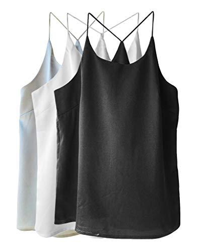 (Wantschun Womens Silk Satin Camisole Cami Plain Strappy Vest Top Sleeveless Blouse Tank Shirt US Size M ;Grey+Black+White)
