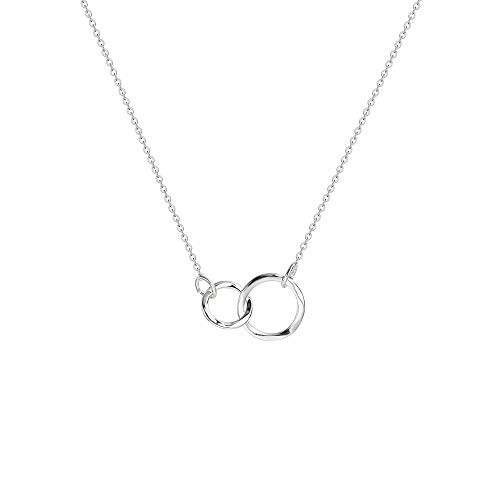 Silver Linked Rings Sister Necklace-Dainty Hammered Minimalism Style Sterling Silver Plated Unity Linked Double Rings Sisters Delicate Infinity Pendant Necklace Personalized Friendship Jewelry Gift