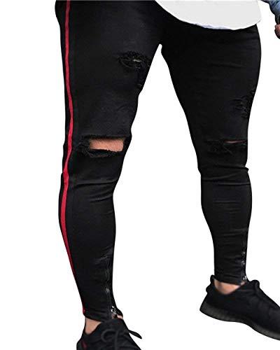 Vintage Stretch Pantaloni Jogging Denim Destroyed Nero Skinny Da Sportivi Jeans Huixin Uomo qwI0SU0p