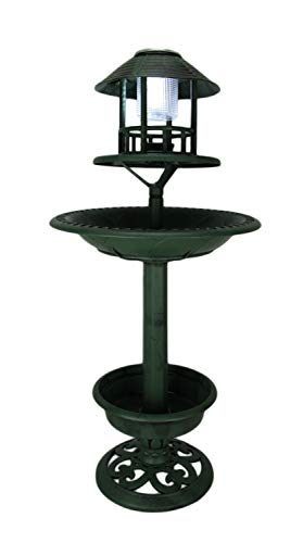 Things2DIe4 Antique Green Plastic Solar Lighted Bird Bath or Feeder with Planter