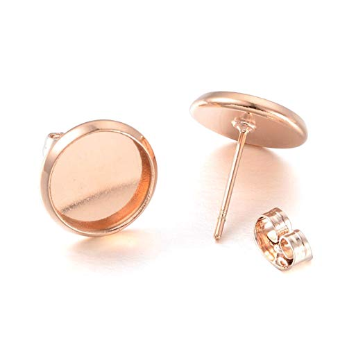Kissitty 50 Sets Rose Gold Plated Brass Post Earring Studs Set Flat Round Blank Bezel Tray Cabochon Setting with Earring Backs Fit for 10mm Cadmium Free & Nickel Free & Lead Free ()