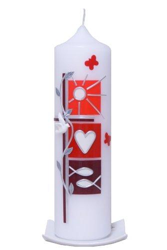 rot Jede Kerze f/ür sich Taufkerze Sommer ist ein Unikat. 25x7cm mit Karton wird NUR auf Kundenwunsch f/ür Sie gefertigt Bei uns bekommen sie keine Massenware