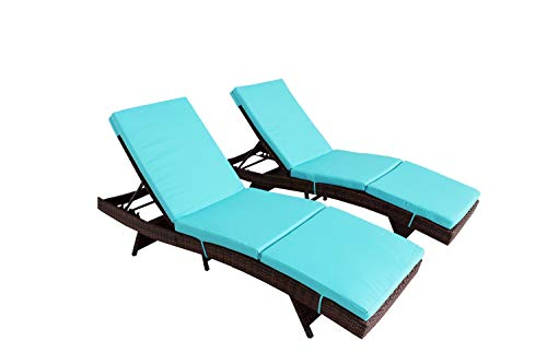 Jetime Outdoor Brown 2Pcs Rattan Lounge Chair Patio Lounger Chaise Lounge Wicker Portable Chair Couch Furniture Ajustable Sunbed Garden Couch Cushion with Turquoise Cushion For Sale