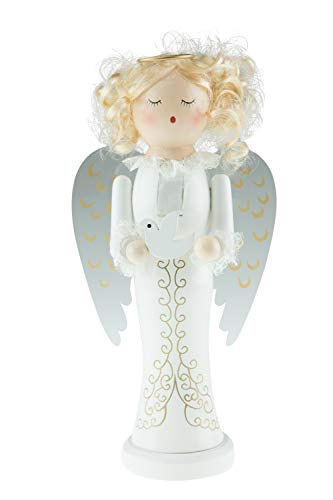 (Clever Creations Blonde Angle Nutcracker | Angle Nutcracker Wears a Gold Halo and Holds a White Dove | 100% Wood | Angle Stands at 10