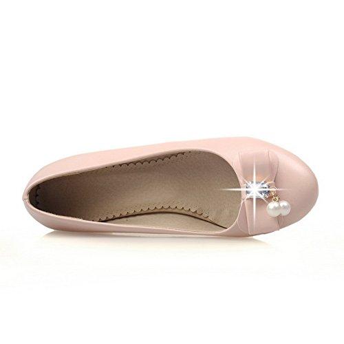 Balamasa Dames Effen Metalen Strik Nagebootst Lederen Pumps-schoenen Roze