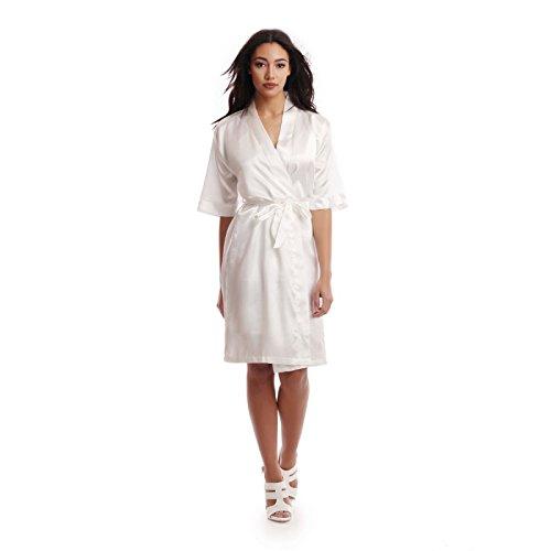 La Modeuse conjunto-Camisola dos piezas: satinado-Camisola finos con tirantes ajustables-Kimono con presillas para el cinturón Composición: 97% poliamida y 3% elastano. blanco