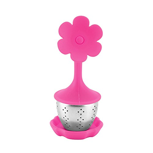 Loose Leaf Tea Infuser with BPA-Free Silicone Lid and Drip Tray Hotsaleglobal 1 Piece Fine Stainless Steel Tea Strainer for All Types of Loose Leaf Tea (Rose Red Flower)