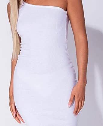 Parisian One Shoulder Rib Knit Bodycon Midi Dress (White