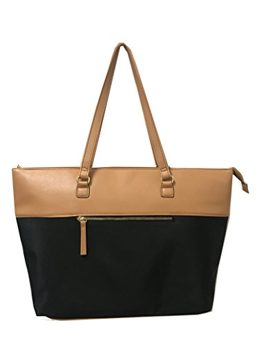 Women's Classic Work Tote for Laptops uo to 15.6 Inches, Brown and Black
