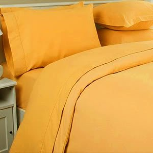 Beau JS Sanders 1500 Thread Count Queen Size 4pc Egyptian Bed Sheet Set, Yellow