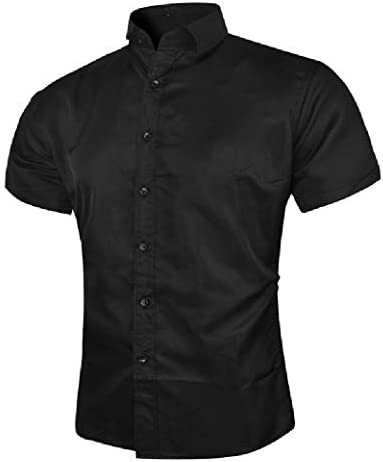 Mens Short Sleeve Solid Colored Simple Buttons up Collared Dress Shirts