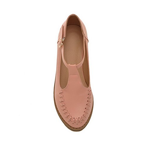 AmoonyFashion Womens Round-Toe Closed-Toe Low-Heels Pumps-Shoes with Thread and Hollow Out Pink DaLHKESHPM