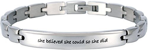 Elegant Heart Style (Elegant Surgical Grade Steel Womens Inspirational Quote Mantra Bracelet, Many Styles (She Believed she Could so she did))