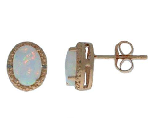 Genuine Opal & Diamond Oval Stud Earrings 14Kt Rose Gold & Sterling Silver ()