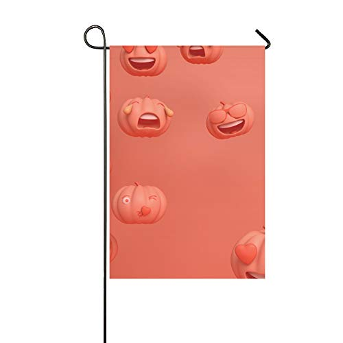 WJJSXKA Decorative Outdoor Double Sided Pumpkin Emoticon Melon Fruit Vegetable Natural Funny Emoticon Pack Garden Flag, Yard Flag,Garden Yard,Seasonal Welcome Outdoor Flag 12 X 18 Inch Spring Summer]()