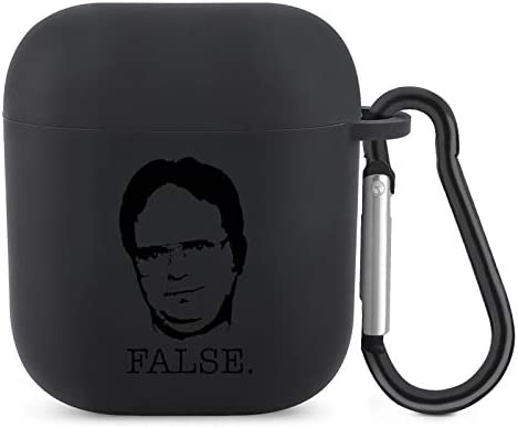 Dwight Schrute The Office Tv Show False AirPods Case Cover Protective Silicone Headphone Case Compatible with Airpods One Piece AirPods Accessories with Keychain