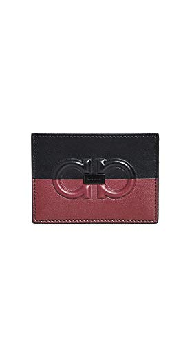 Salvatore Ferragamo Men's Firenze Logo Card Case, Black/Red Ferragamo, One Size - Firenze Card Case