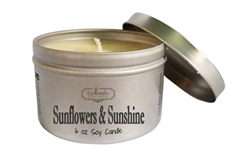 SUNFLOWERS & SUNSHINE Natural Soy Wax 6 oz. Tin Candle, long 40+ hour burn time (Sunflower Holder Candle)